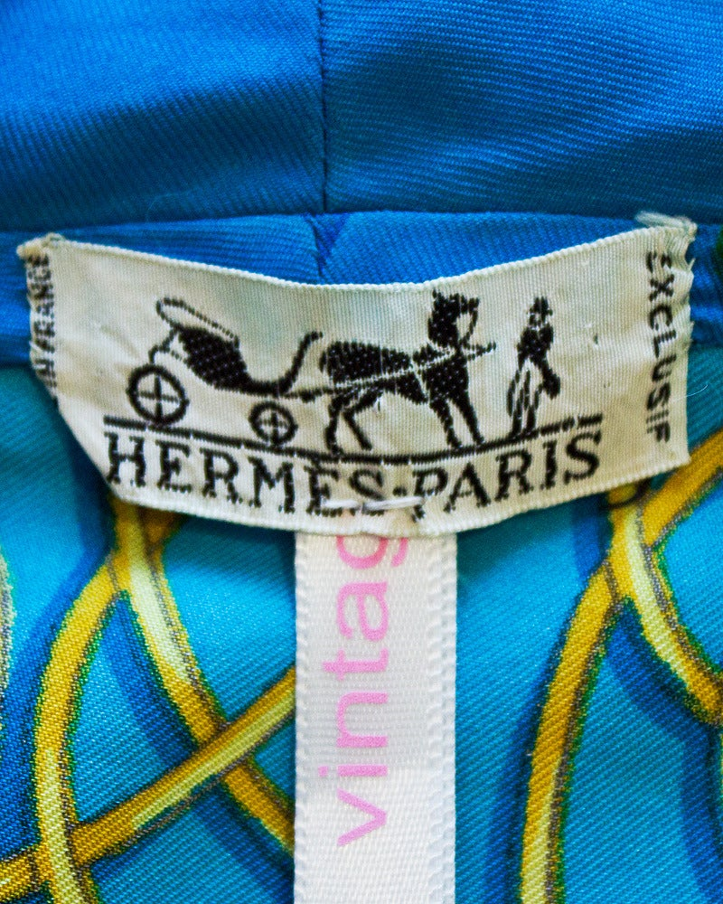1980's Hermes Blue Sleeveless Silk Top For Sale 1
