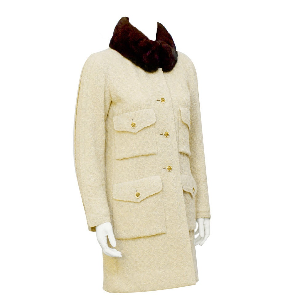 1980's Chanel Haute Couture Cream Boucle Coat with Mink Collar