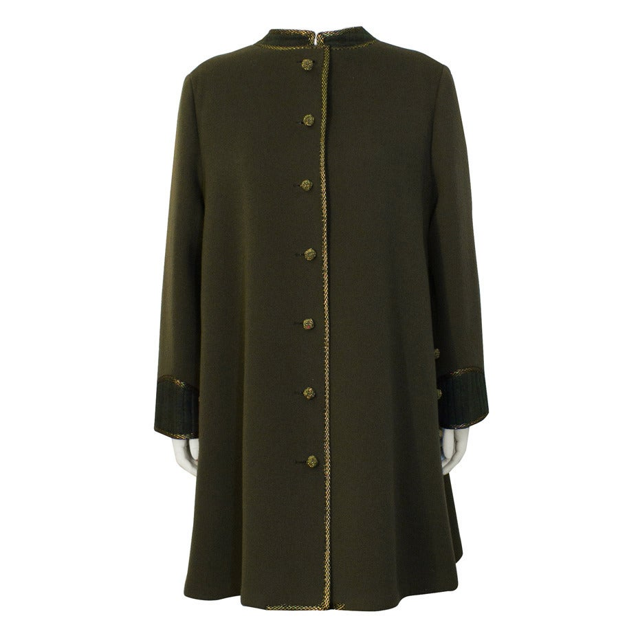 1960's Geoffrey Beene Military Swing Coat For Sale