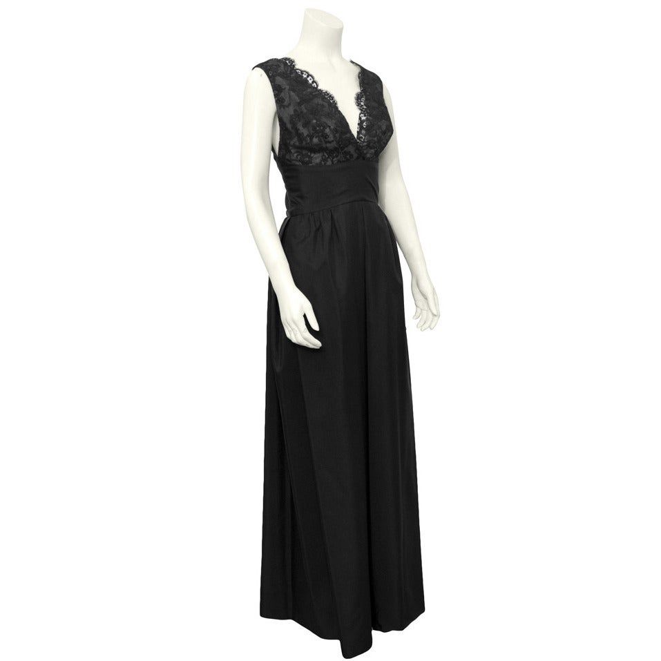 1960's Helen Rose Black Lace Bodice Silk Gown