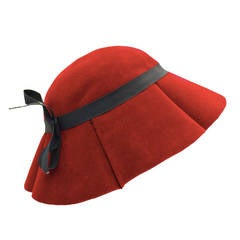 1950's Lilly Dache Red Hat with Black Bow