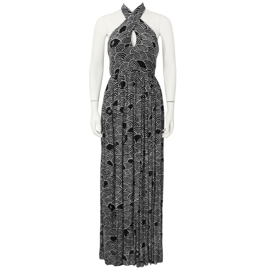 1970's Geoffrey Beene Black & White Cross Halter Gown
