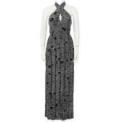 1970's Geoffrey Beene Black & White Cross Halter Gown