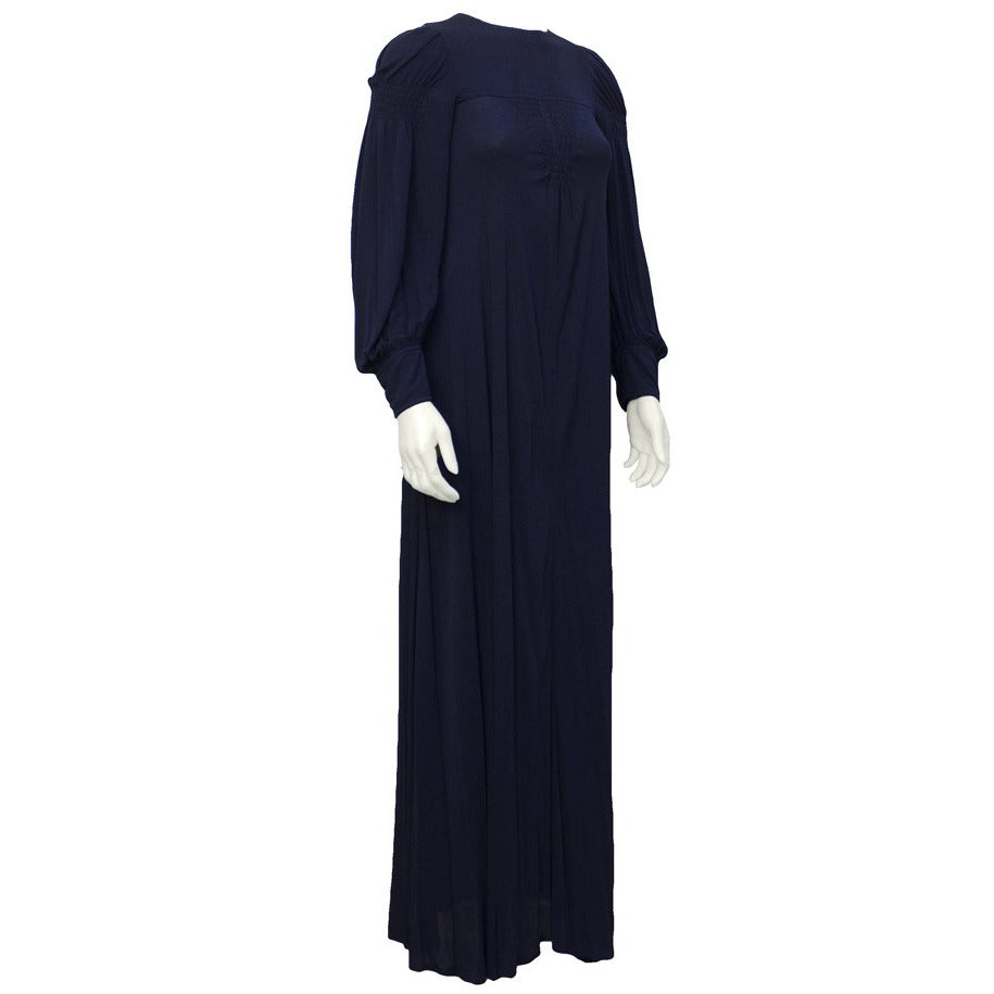 1970's Jean Muir Navy Blue Long Sleeve Gown