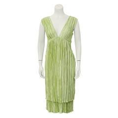 1980's Mary McFadden Green Micro Pleated Dress and Bolero