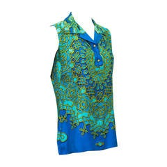 1980's Hermes Blue Sleeveless Silk Top