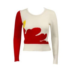 1980's Krizia Red and White Pop-Art Style Sweater