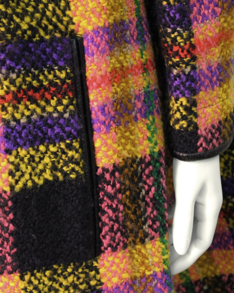 Late 1960s Bonnie Cashin Mutli-Colored Plaid Wool Cape with Leather Trim 5