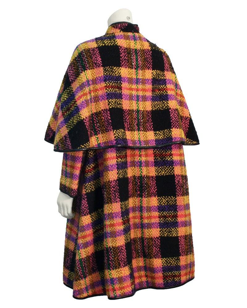 Late 1960s Bonnie Cashin Mutli-Colored Plaid Wool Cape with Leather Trim 3
