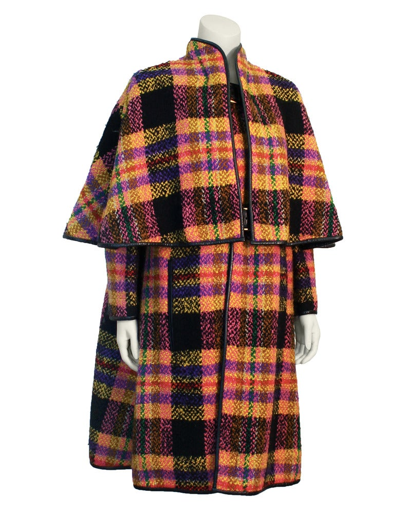 Late 1960s Bonnie Cashin Mutli-Colored Plaid Wool Cape with Leather Trim 2