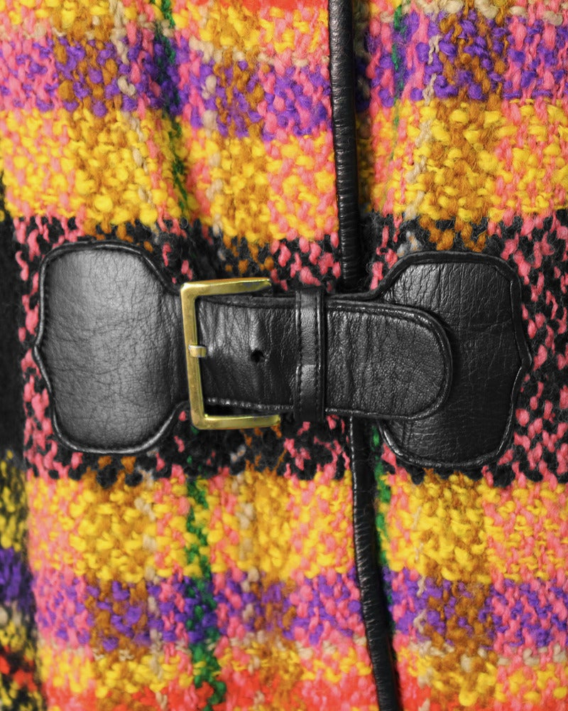 Late 1960s Bonnie Cashin Mutli-Colored Plaid Wool Cape with Leather Trim 4
