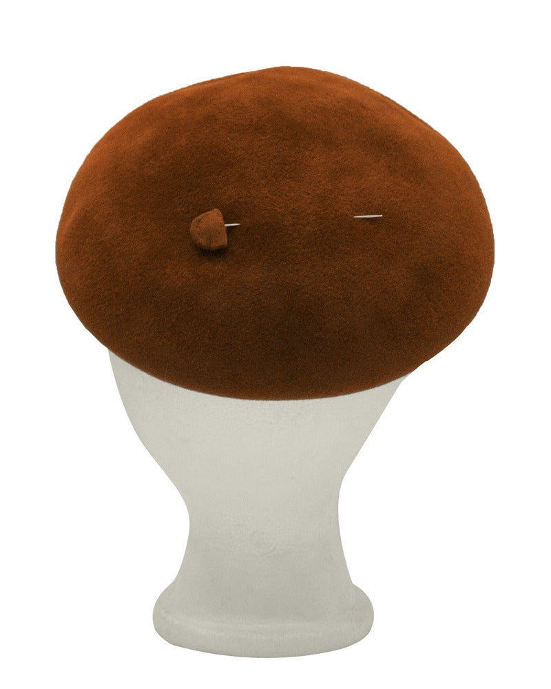 1950s Christian Dior Copper Felt Beret Style Hat 2