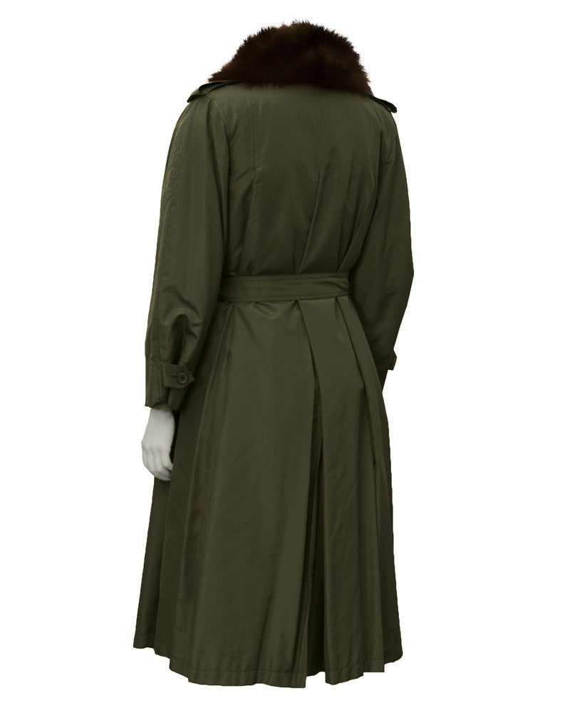 1980 Autumn/Winter Christian Dior Haute Couture Mink Trim Trench 3