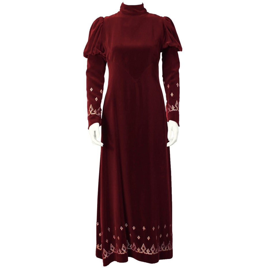 1970's Annacat Burgundy Velvet Gown with Gold & Silver Details For Sale