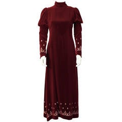 1970's Annacat Burgundy Velvet Gown with Gold & Silver Details