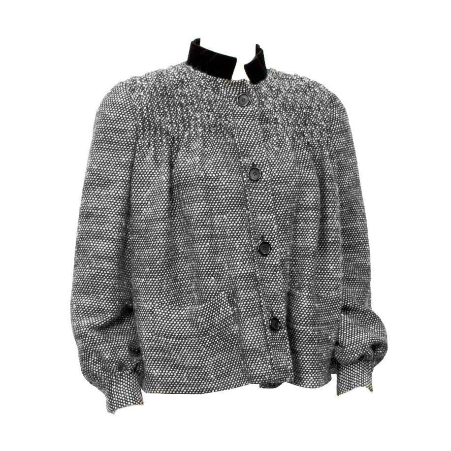 1980's Bill Blass Black & White Smocked Swing Jacket For Sale
