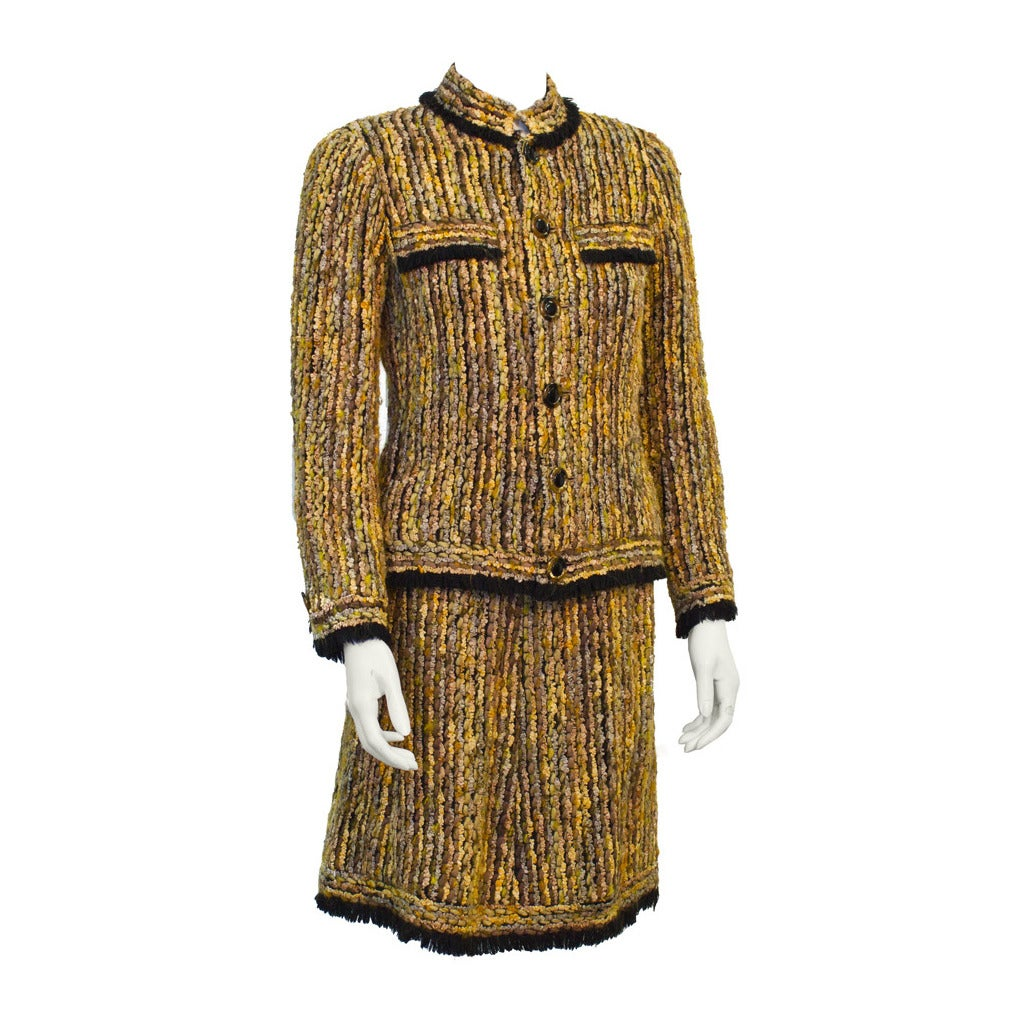 1970's Chanel Haute Couture Black and Brown Skirt Suit