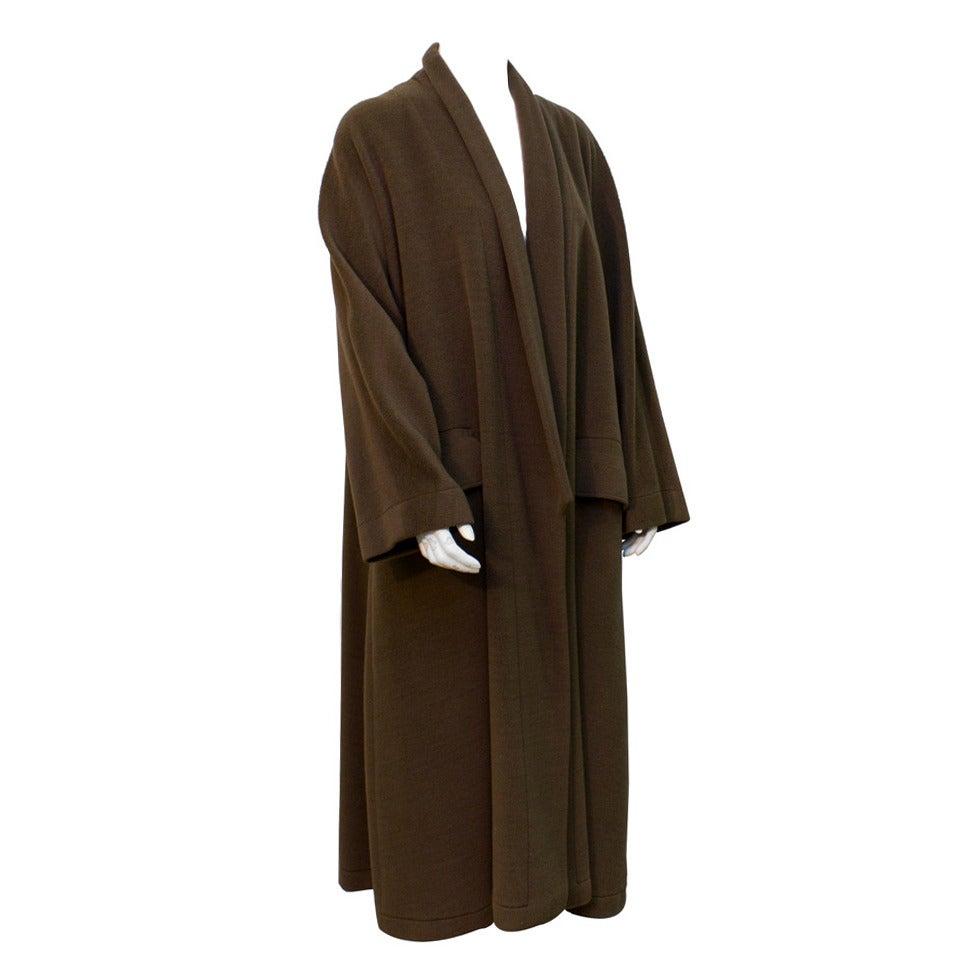 1980's Genny Brown Kimono Style Wool Coat 1