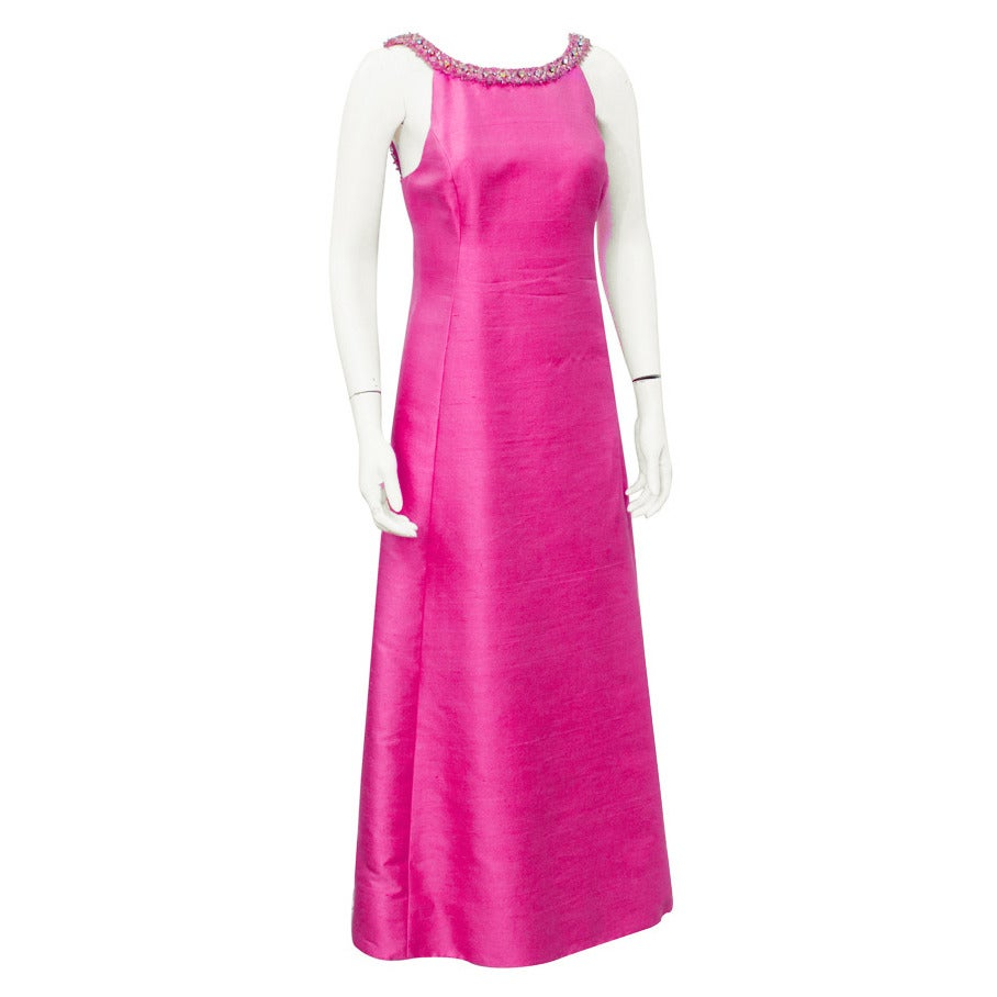 1960's Gino Charles Pink Raw Silk Evening Gown with Beaded Neckline