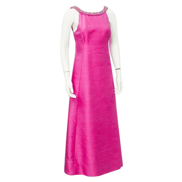 1960's Gino Charles Pink Raw Silk Evening Gown with Beaded Neckline For Sale
