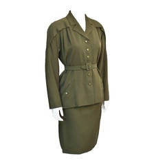 1950's Jacques Griffe Olive Green Wool Suit