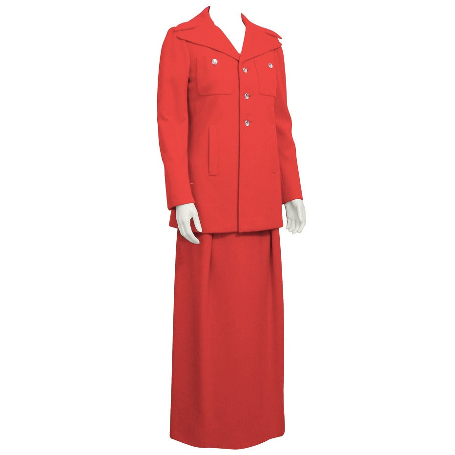 1970's Pauline Trigere Red Wool Gown & Coat Ensemble For Sale