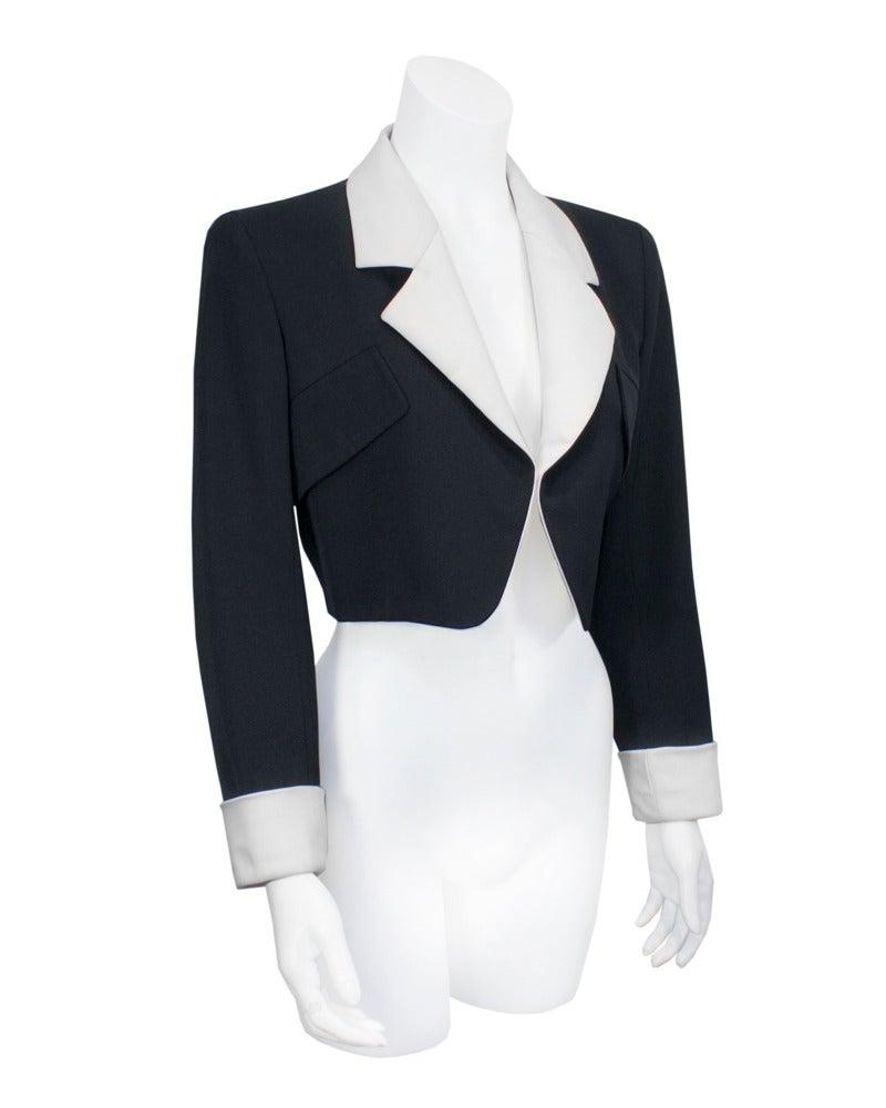 1980's Yves Saint Laurent Rive Gauche Black & White Silk Bolero Jacket 2