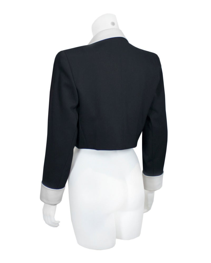 1980's Yves Saint Laurent Rive Gauche Black & White Silk Bolero Jacket 3