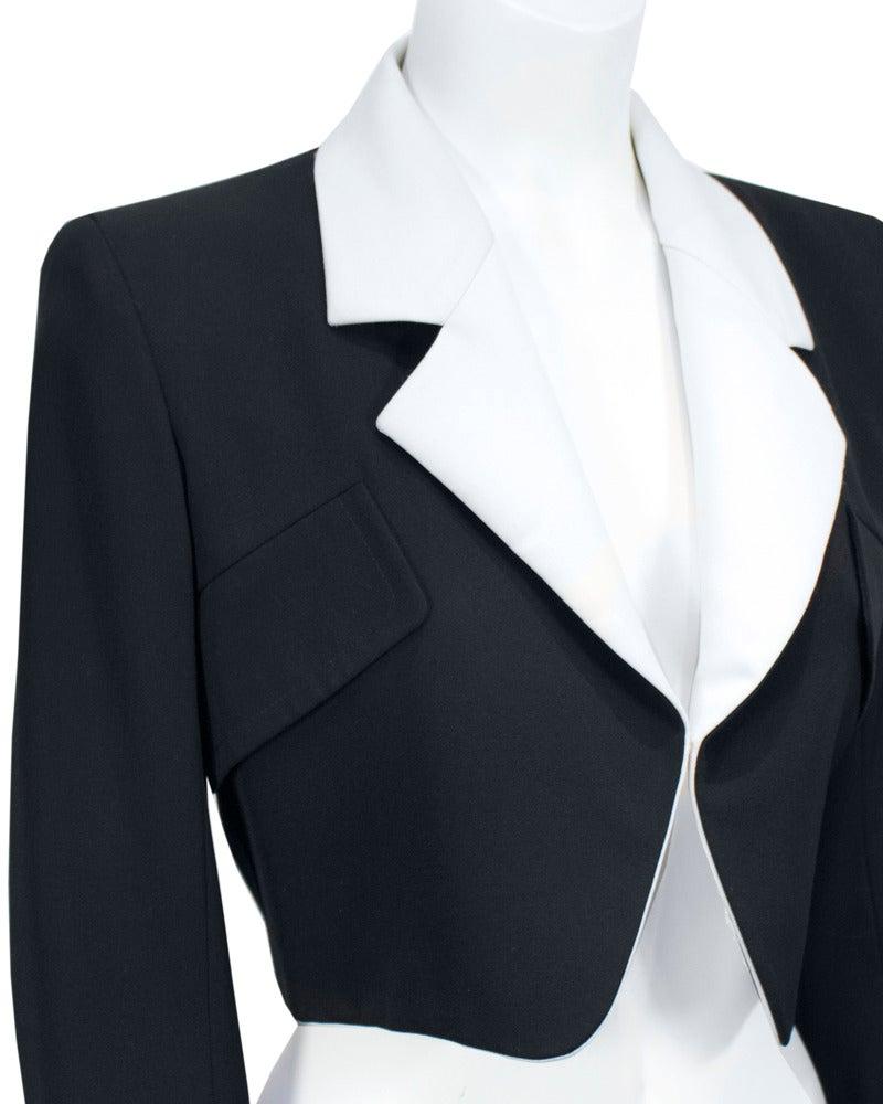1980's Yves Saint Laurent Rive Gauche Black & White Silk Bolero Jacket 4