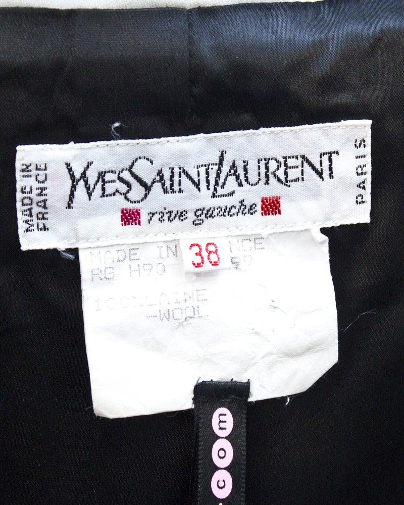 1980's Yves Saint Laurent Rive Gauche Black & White Silk Bolero Jacket 5
