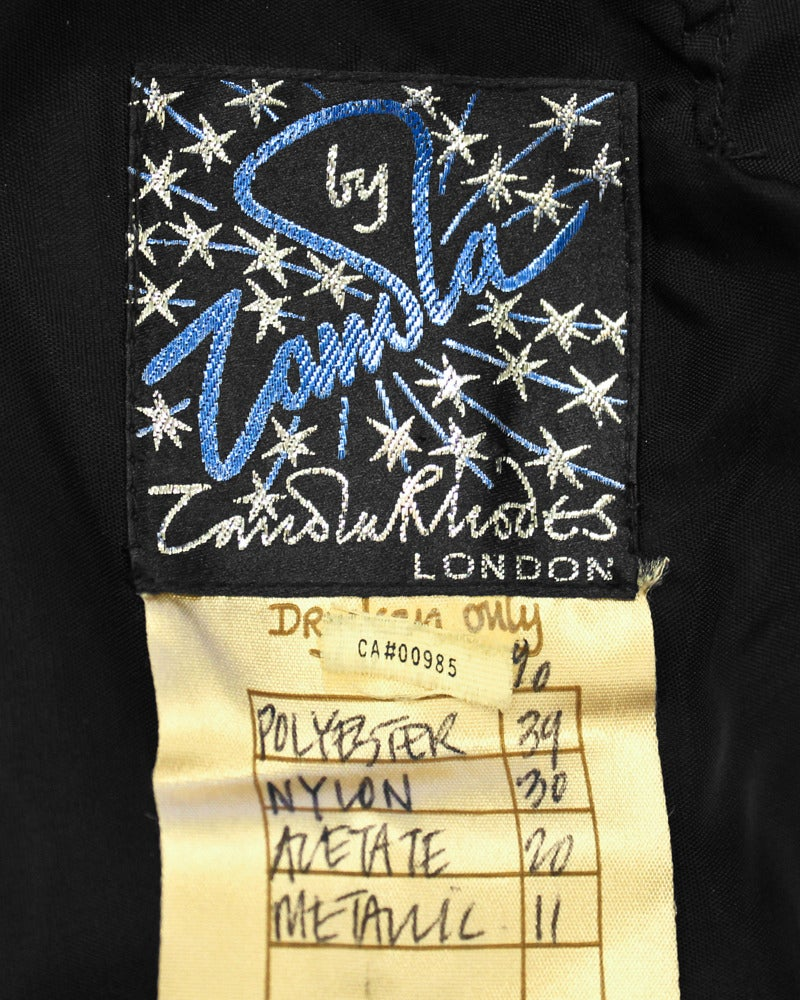 1980s Zandra Rhodes Black Gown with Gold Tambour Detailed Stitching For Sale 2