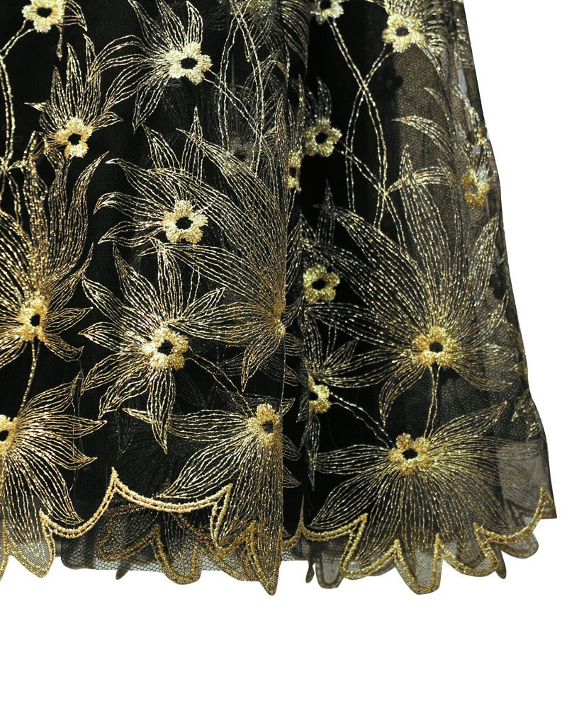 1980s Zandra Rhodes Black Gown with Gold Tambour Detailed Stitching For Sale 1