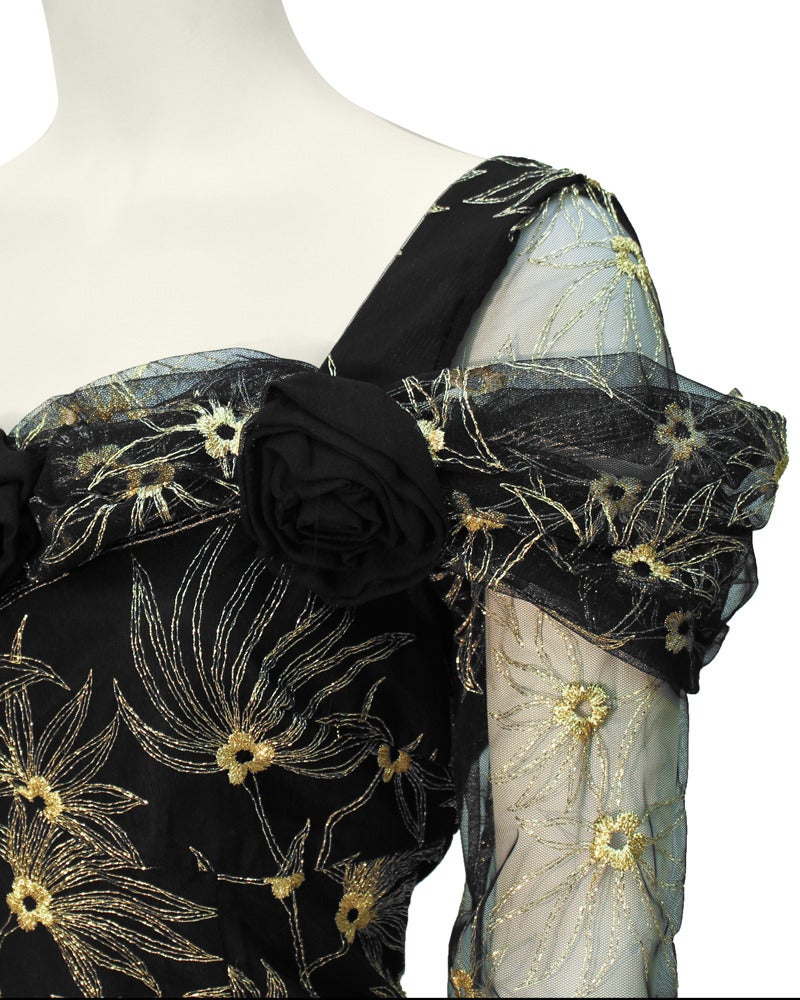 Women's 1980s Zandra Rhodes Black Gown with Gold Tambour Detailed Stitching For Sale