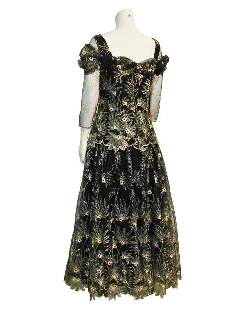 1980s Zandra Rhodes Black Gown with Gold Tambour Detailed Stitching In Excellent Condition For Sale In Toronto, Ontario