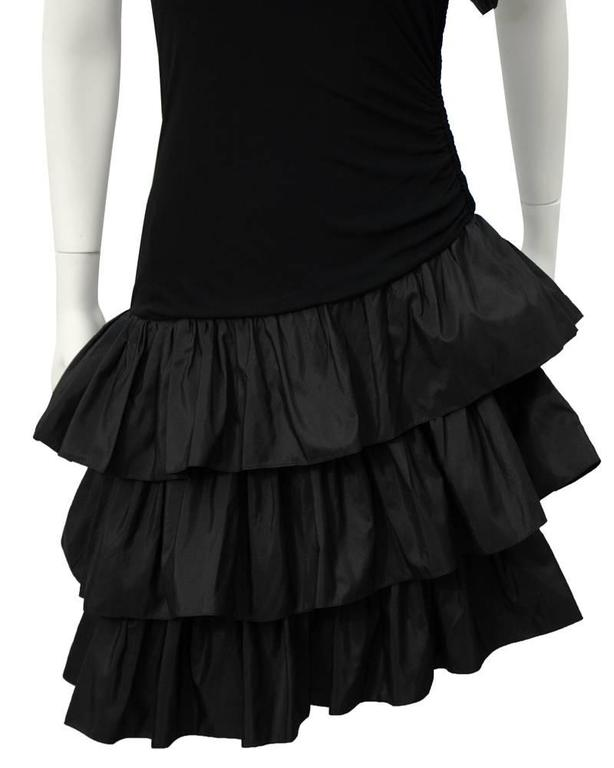 1980's Givenchy Black Ruffle One Shoulder Cocktail For Sale 1