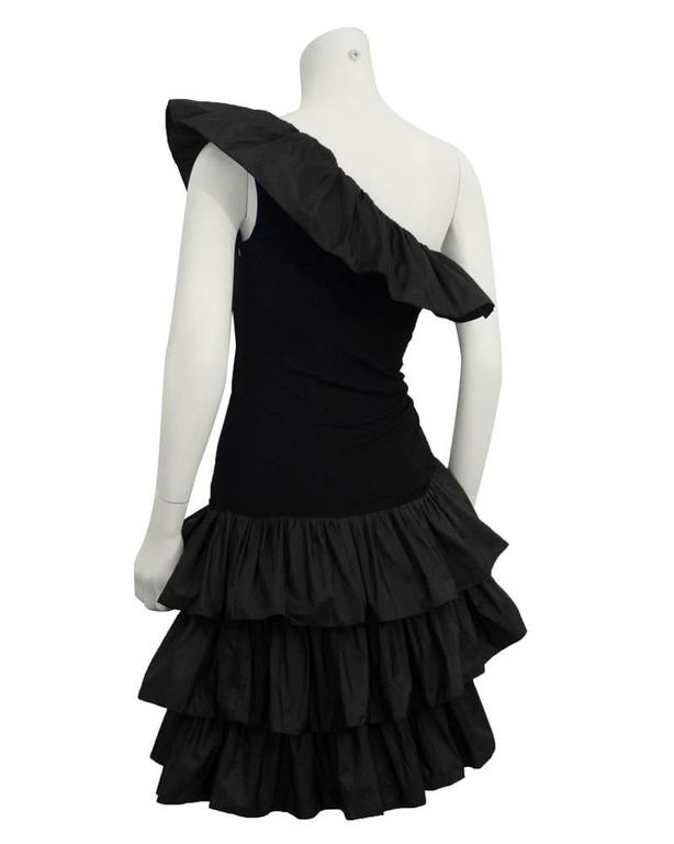 1980's Givenchy Black Ruffle One Shoulder Cocktail In Excellent Condition For Sale In Toronto, CA