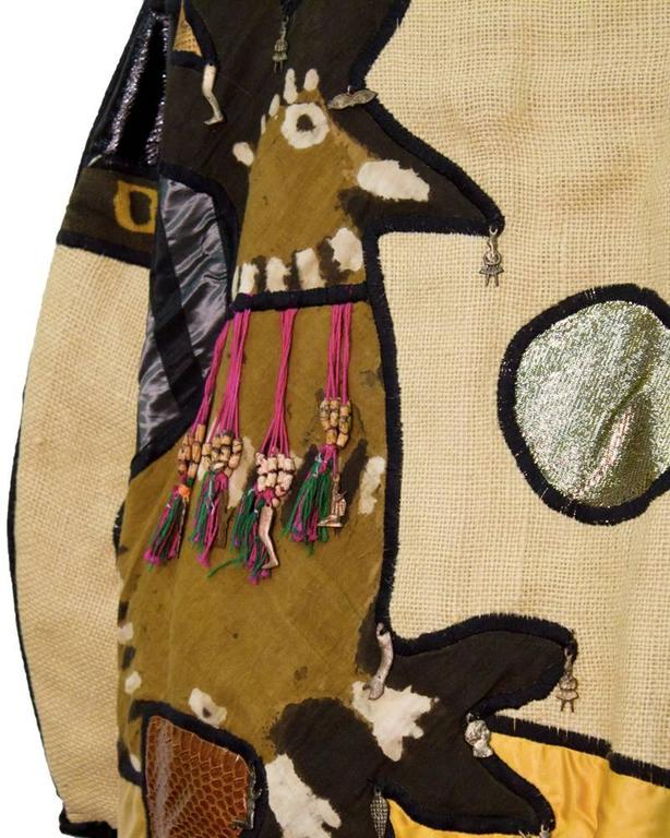 1970s Mexican Applique Artists Coat In Excellent Condition For Sale In Toronto, Ontario