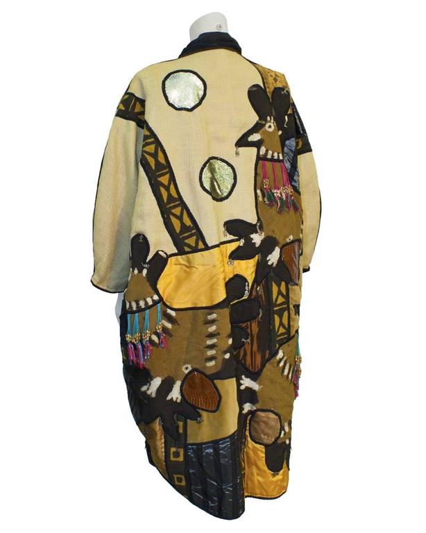 Brown 1970s Mexican Applique Artists Coat For Sale