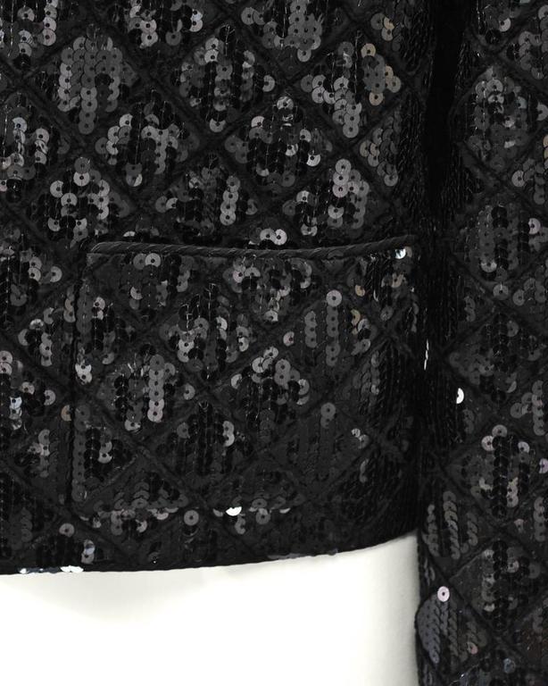 1990's Chanel Black Sequin Matrasse Jacket  4