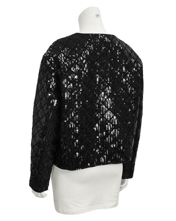 1990's Chanel Black Sequin Matrasse Jacket  3
