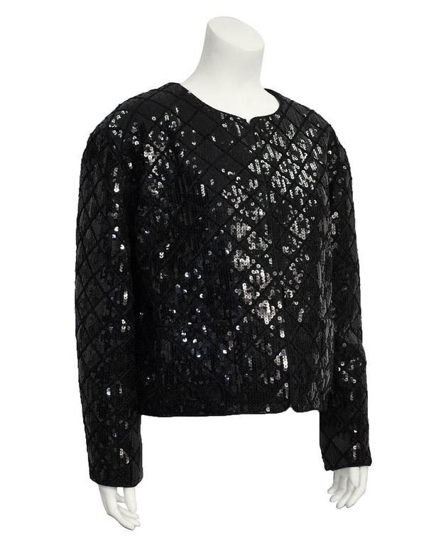 1990's Chanel Black Sequin Matrasse Jacket  2