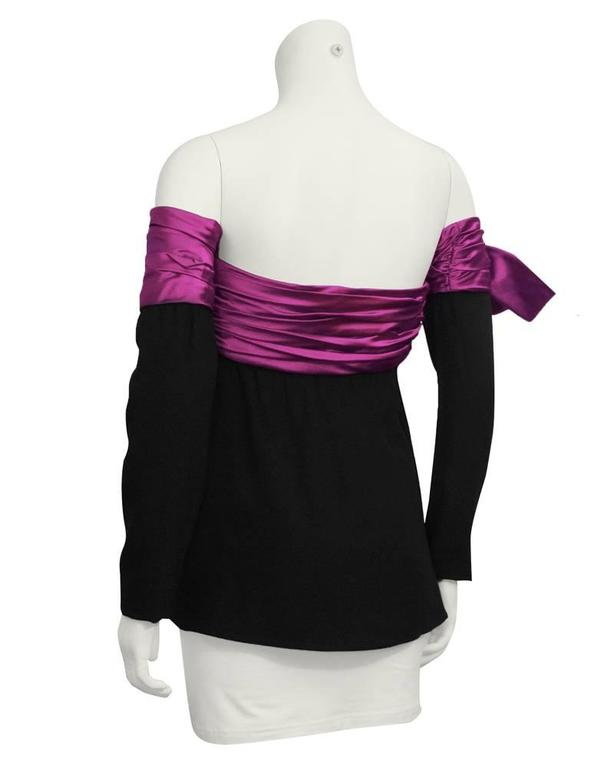 1980's Lanvin Black and Pink Strapless Bustier with Optional Sleeve In Excellent Condition For Sale In Toronto, CA