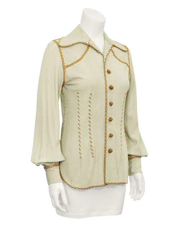 1970's North Beach Leather Beige and Tan Chamoix Blouse 2