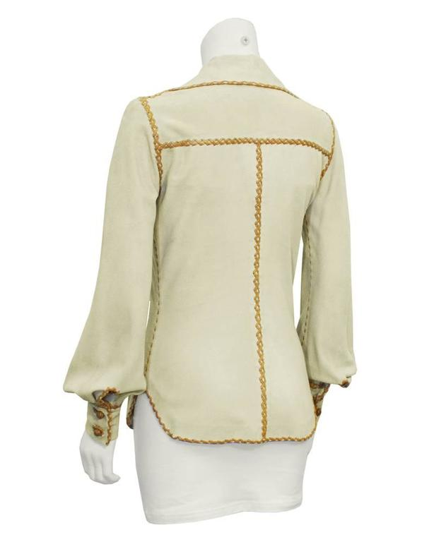 1970's North Beach Leather Beige and Tan Chamoix Blouse 3
