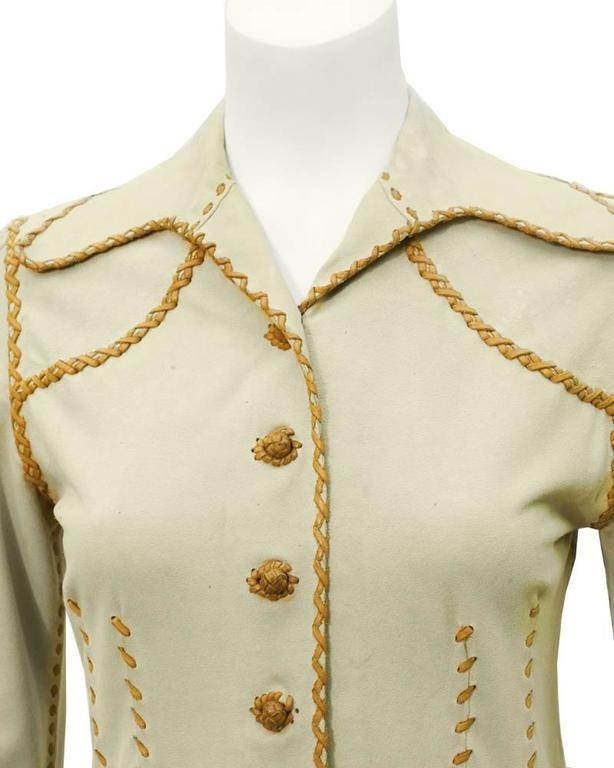 1970's North Beach Leather Beige and Tan Chamoix Blouse 4
