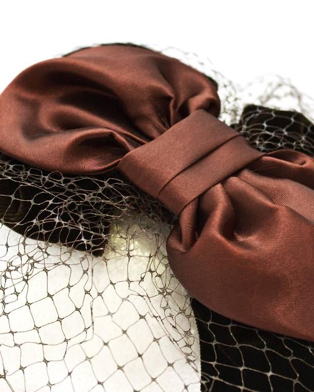 1950's Brown Satin and Net Evening Fascinator Hat 3