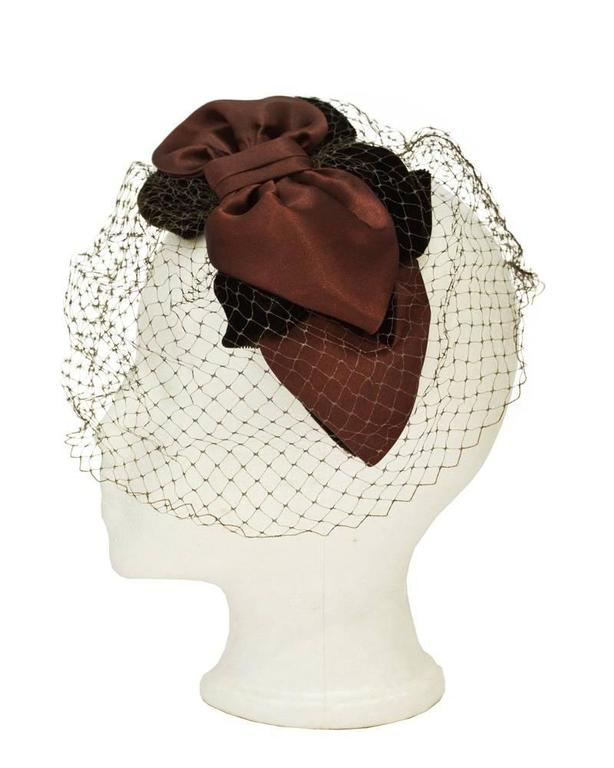 1950's Brown Satin and Net Evening Fascinator Hat 2