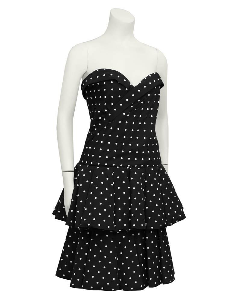 1980\'s CD de Christian Dior Black and White Polka Dot Cocktail Dress ...