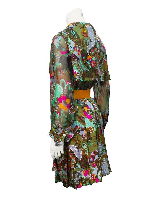 1970's Dynasty Silk Printed Day Dress  with Belt   2
