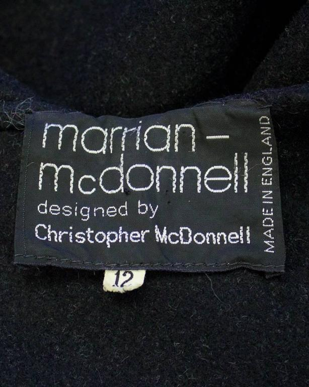 1960's Marrian-McDonnell Black Wool Cloak 5